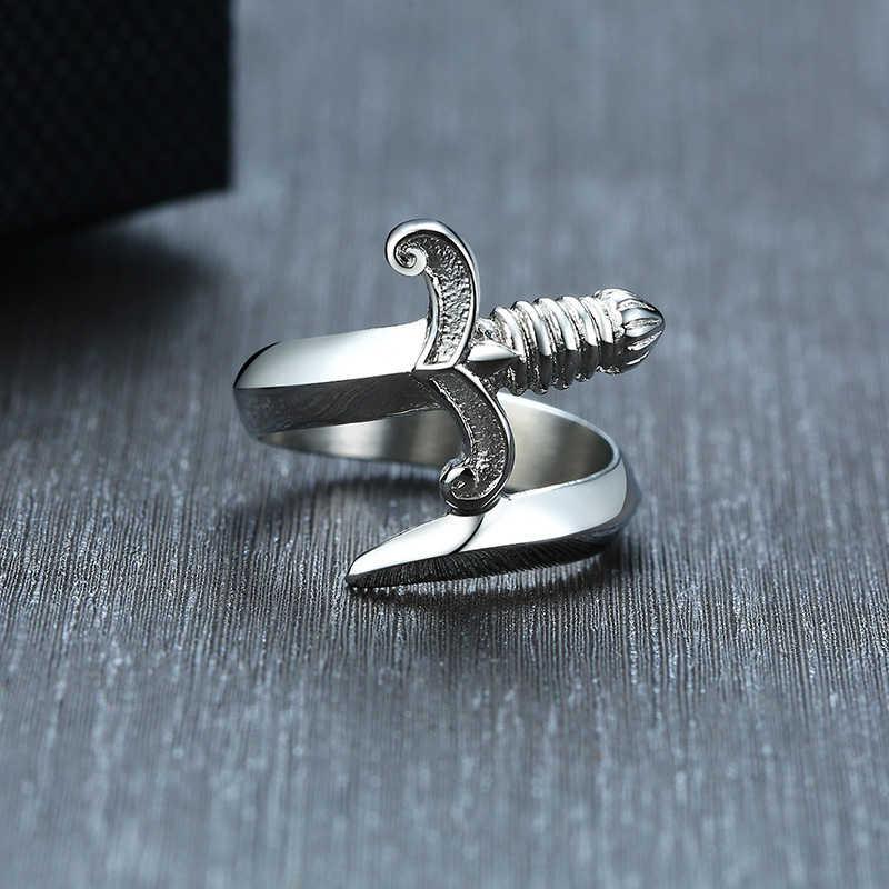 Jóias de aço inoxidável do punk do anel do punhal da espada do homem de prata