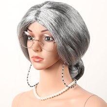 Старый леди костюм бабушка седые волосы одеваются париков, головных уборов, очках цепи жемчужное ожерелье аксессуары для маскарада на Хелл...