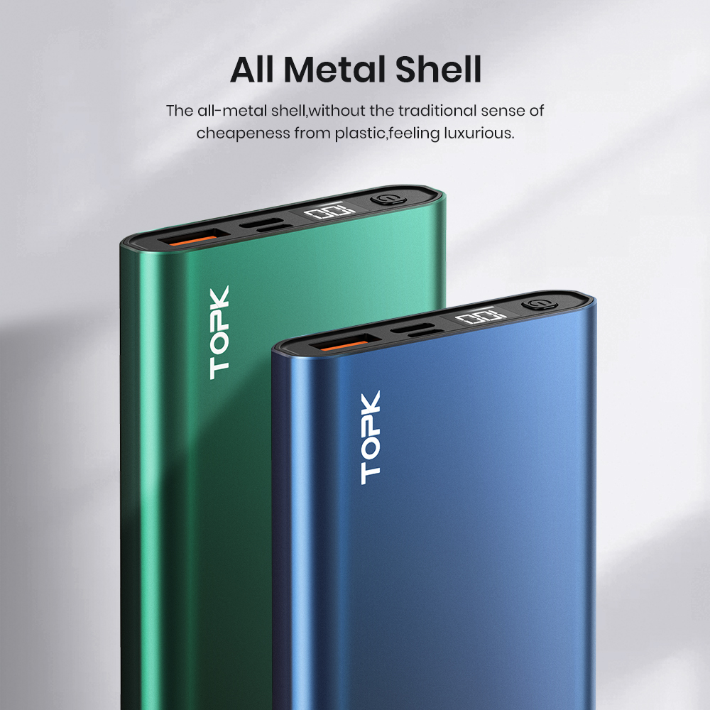 TOPK Power Bank 10000mAh Portable Charger LED External Battery PowerBank PD Two-way Fast Charging PoverBank for iPhone Xiaomi mi 6