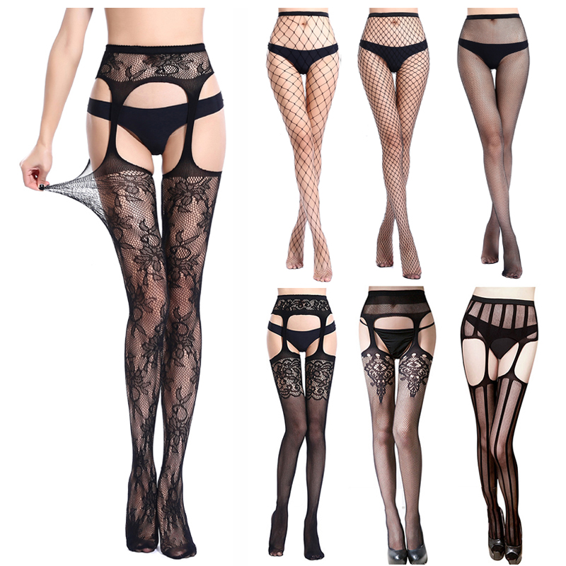 Sexy Hollow Out Tights For Women Thigh High Fishnet Embroidery Transparent Crotchless Pantyhose Stockings Lace Nylon Stockings