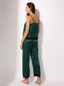 Image 2 - Pijamas de cetim conjunto de pijamas cami topo longo calcinha macia pj conjunto sexy nightwear macio homedress