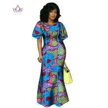 Robe longue en Bazin pour femmes, nouvelle mode, vêtements africains, riche, imprimé de cire, WY746, été