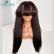 Yaki Straight Human Hair Wigs With Bangs Brazilian Hair Full Machine Made Wig O Scalp