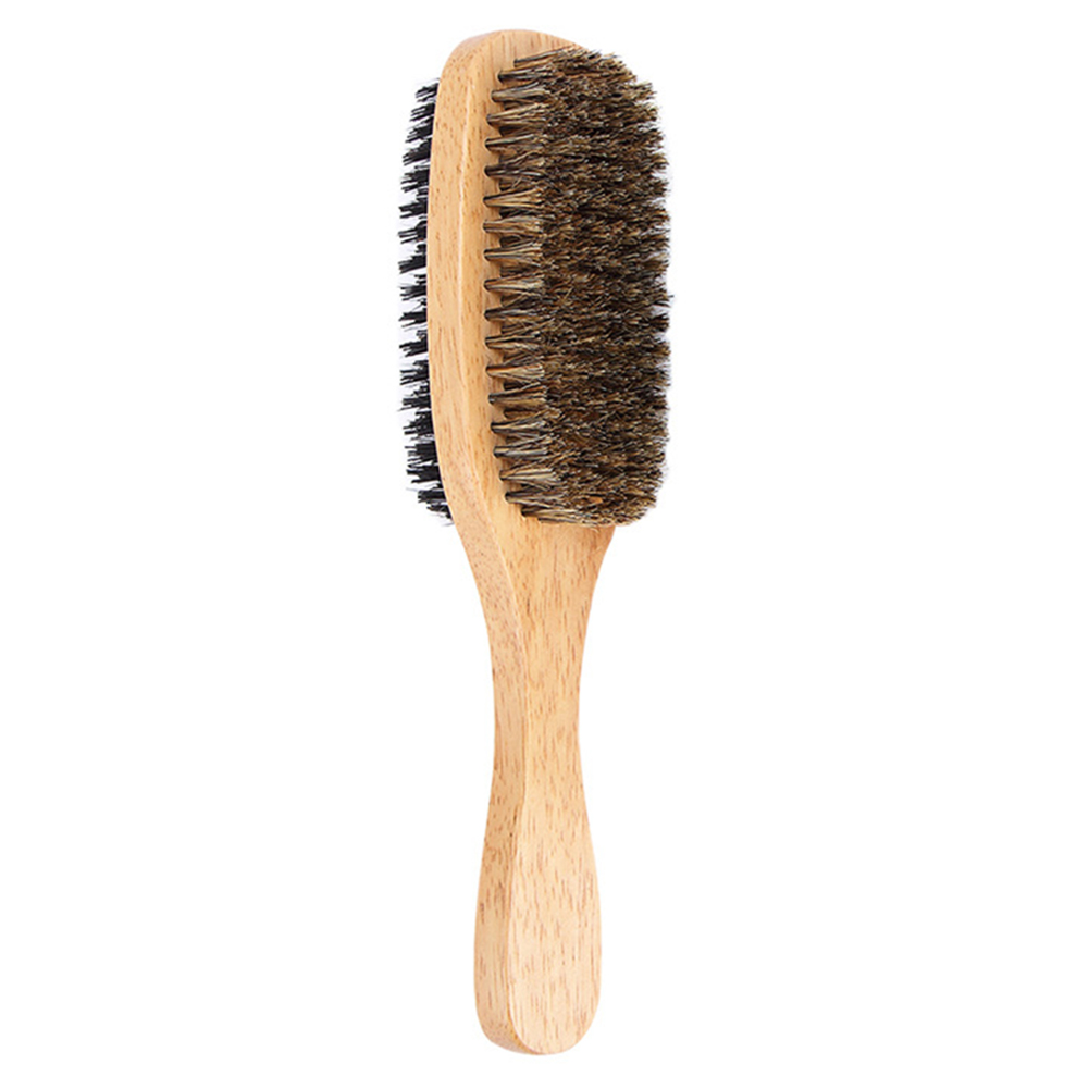 Multifunction Antistatic Double-sided Hair Brush With Wooden Handle For Massage Facial Beard Wooden