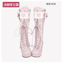 Super Nice Japanese Round Toe Lolita Boots Sweet Lace Bow Heart shape BGX Princess Cosplay Shoes Kid Girl Women Gift
