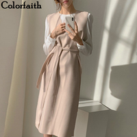 Colorfaith New 2020 Autumn Spring  Women Dresses Sashes Solid Split Straight Knitting Warm Sweater Elegant Office Ladies DR7199