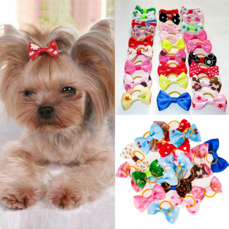 20 PCS  Puppy Bowknots Cat Dog Hair Accessories Grooming Hair Bows For Dogs Assorted Hair Bows For Small Cat Pets Puppy Bowknots