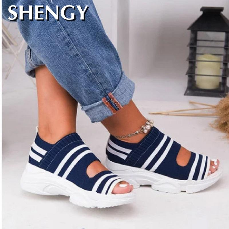 Summer Women Sandals Open Toe Wedges Platform Ladies Shoes Knitting Lightweight Sneakers Sandals Big Size Zapatos Mujer