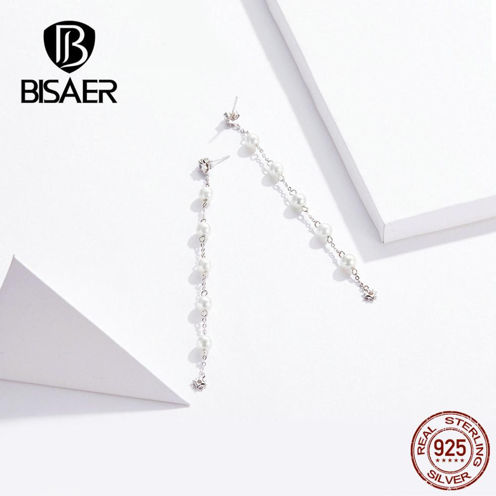 BISAER New 925 Sterling Silver Minimalism Earrings Long Tassel Pearl Drop Earrings For Women Wedding Party Luxury Jewelry GAE185