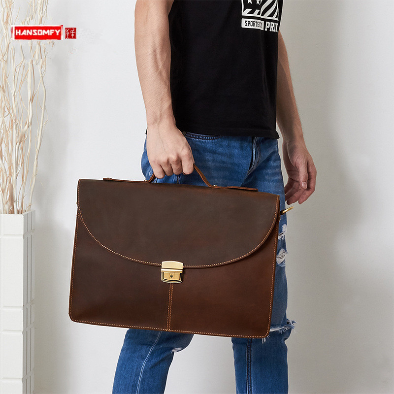 New Business Retro Leather Men's Bag Crazy Horse Leather Handbags Men Laptop Briefcase 15.6 Inch Computer Bag Male Travel Bags