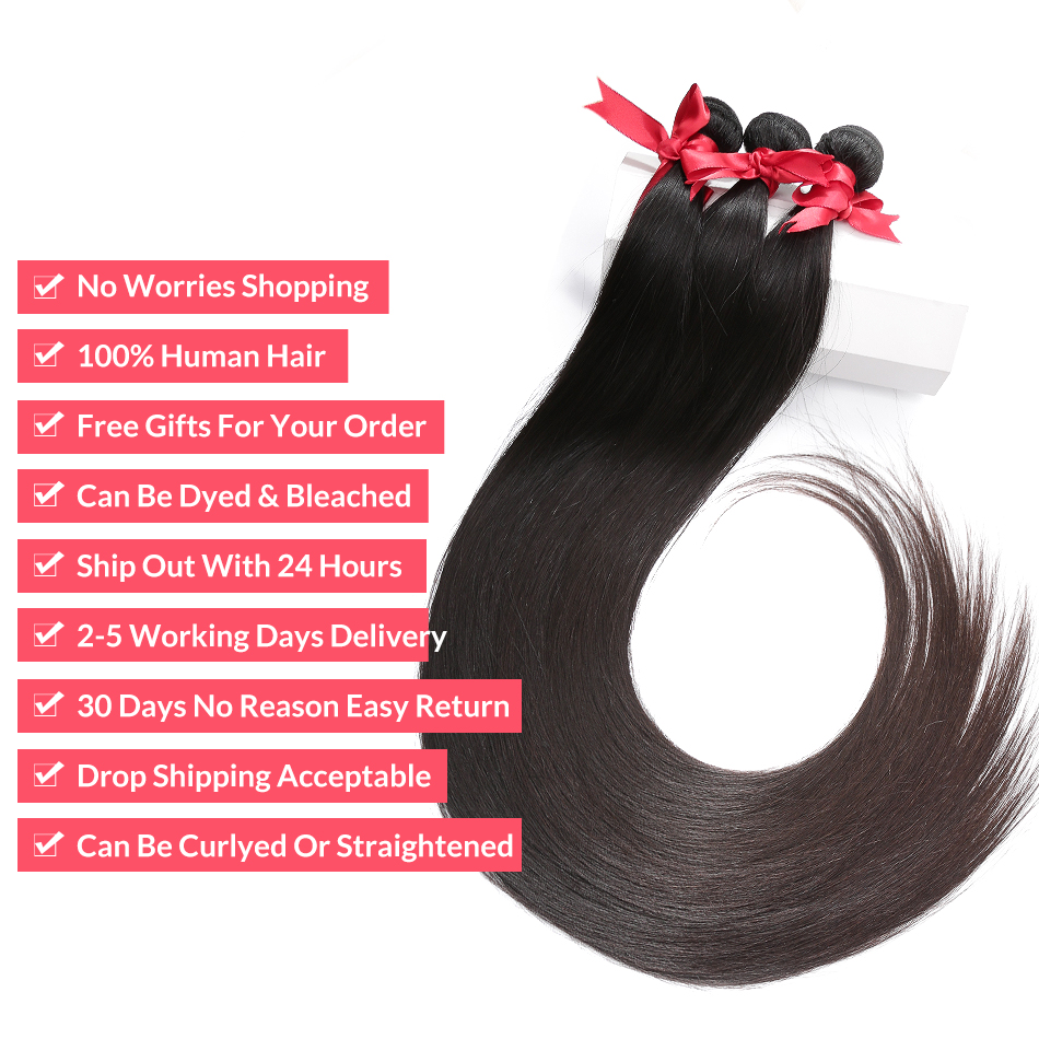 28 30 32 40 Inch 3 Brazilian Straight Hair Weave Bundles Deals Double Drawn Raw Unprocessed Virgin Weaving Human Hair Extension 3