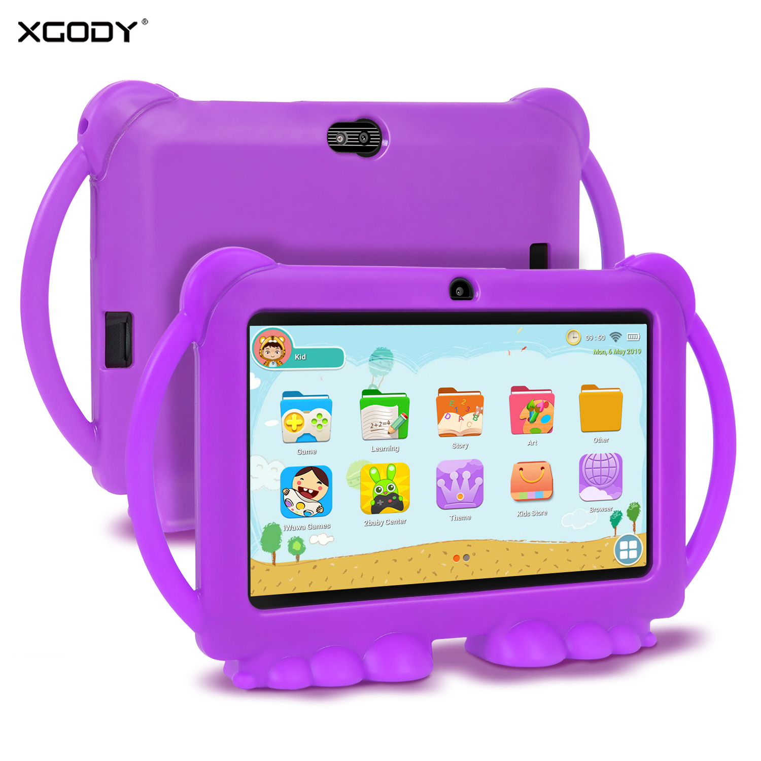 XGODY Children's Learning Education Machine Tablet Best Gift For Kids 7inch HD With Silicone Case USB Charge Quad Core,1GB, 16GB