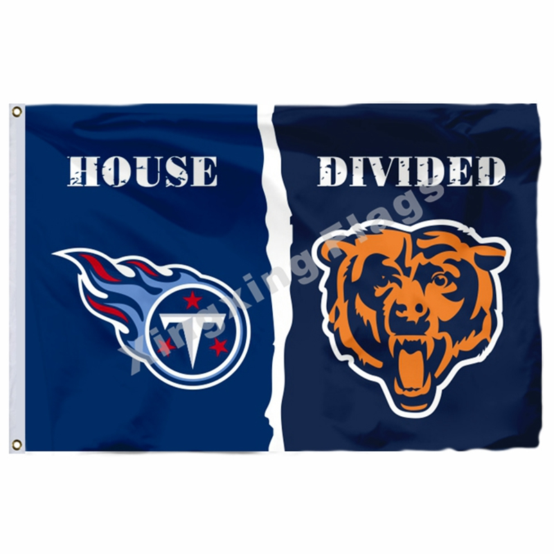 Tennessee Titans <font><b>Chicago</b></font> <font><b>Bears</b></font> Haus Unterteilt Flagge 3ft X 5ft Polyester 1 Banner Größe No. 4 90X150cm custom Flagge image