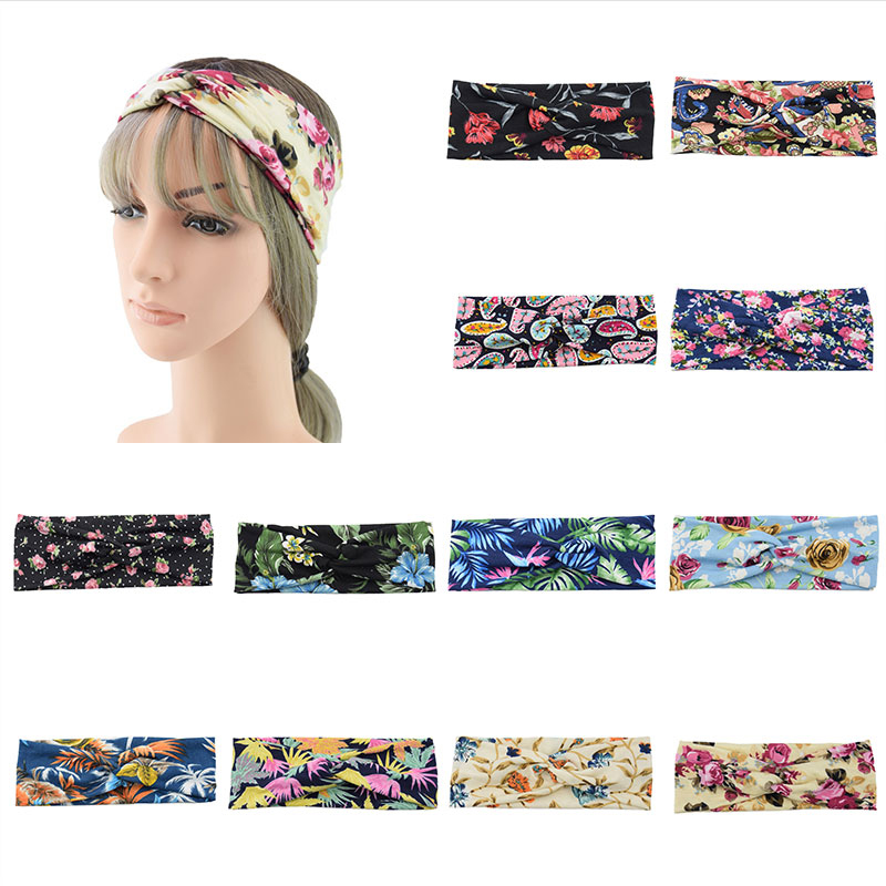 Floral Print Headband Twisted Silk Satin Elastic Cross Turban Hair Accesorries