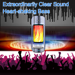 USB LED Flame Lights Bluetooth Speaker Outdoor Portable Led Flame Atmosphere Lamp Wireless Stereo Speaker Outdoor Camping Woofer