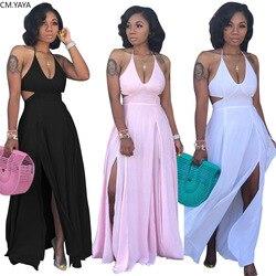 2019 autumn women halter v-neck open back high side split maxi midi bodycon dress night club party long dresses vestidos GLS3649
