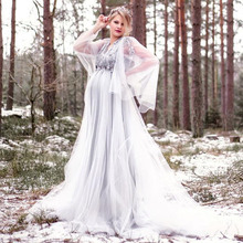 Wedding-Dresses Long-Sleeves Plus-Size Flower Princess Pregnant Eightree Appliques Vestido-De-Noiva