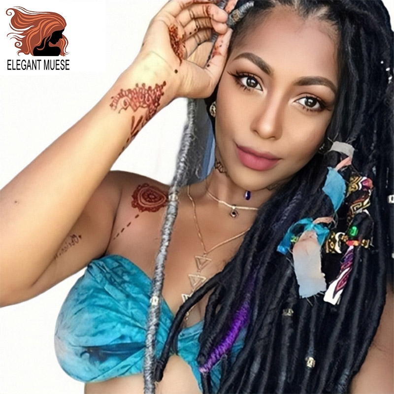 20inches Soft Straight Godess Locs Crochet Braids Jumbo Dread Hairstyle Ombre Color Synthetic Faux Locs Braiding Hair Extensions