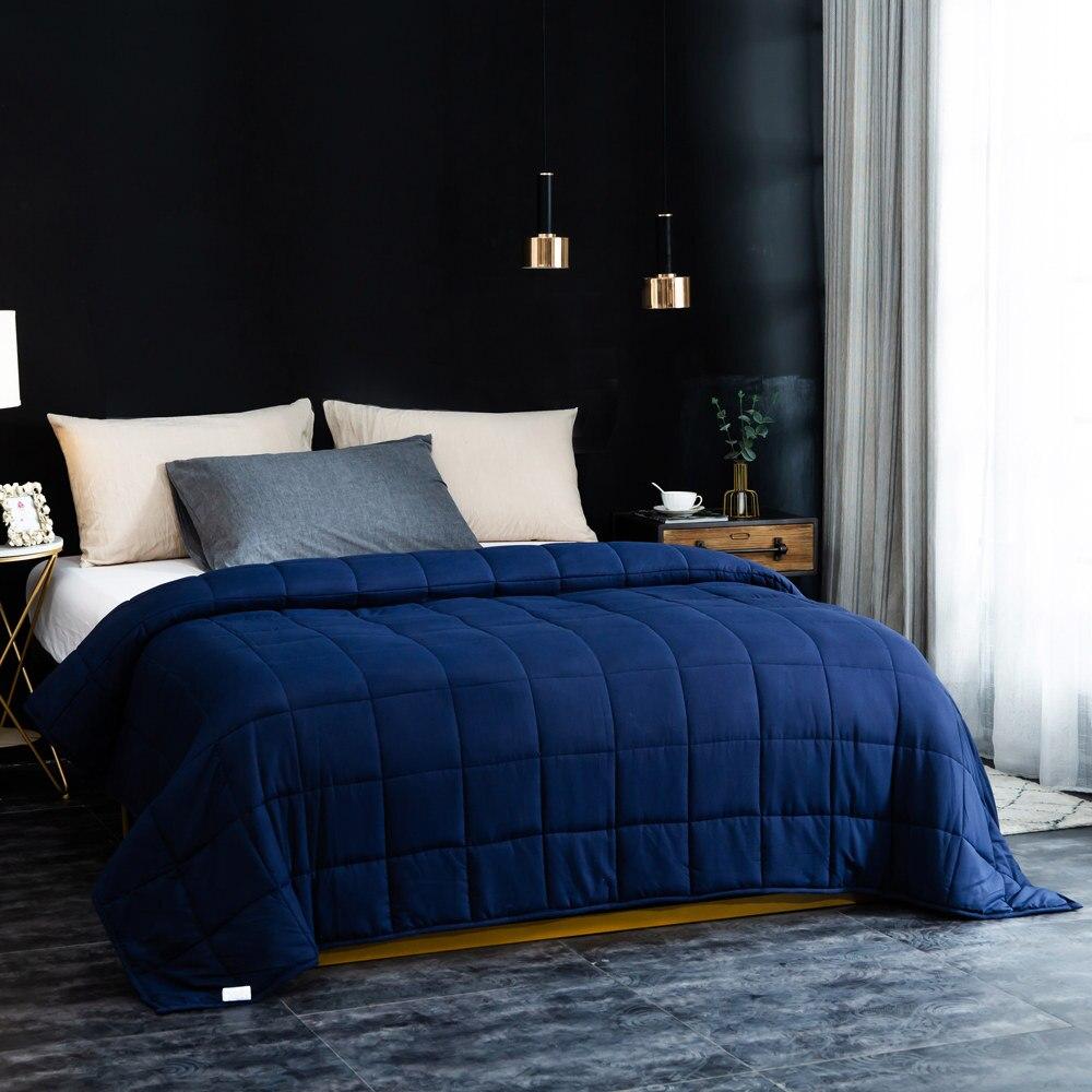 Sleep aid ponderada cobertor 20 lbs 15 lbs contas de vidro adulto crianças 100% algodão colcha pesada para o autismo ansiedade insônia rei rainha - 3