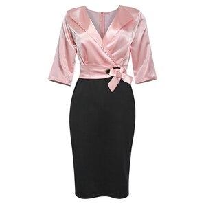 Image 3 - Md 2020秋冬プラスサイズドレスアフリカ女性ピンクブラックパッチワークドレスエレガントなオフィスの女性のドレスvネックパーティーローブ
