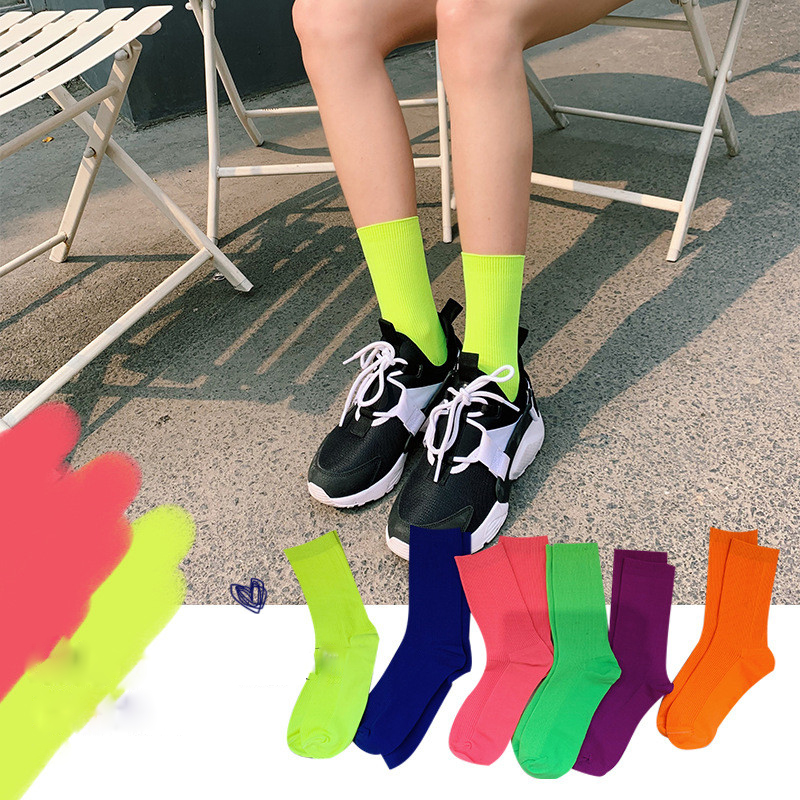 Summer Autumn Cool Girl Solid Women Socks Fluorescent Color Ladies Students Casual Colorful Blue Pink Yellow Mid Hip Hop Socks