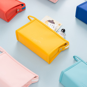 Solid color cosmetic bag simple fashion portable cosmetic bag portable cosmetic bag storage bag PU cosmetic bag travel cosmetic