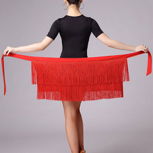 Dance-Skirt Latin-Dress Hip-Scarf Tassel Women for Black Red-Color Adult Stage-Rumba