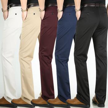Męskie spodnie garniturowe biznesowe klasyczne spodnie męskie spodnie wizytowe klasyczne męskie spodnie formalne spodnie męskie spodnie społeczne męskie spodnie garniturowe tanie i dobre opinie TJWLKJ F2020 8 4 8 COTTON Poliester Mieszkanie Smart Casual Zipper fly Garnitur spodnie
