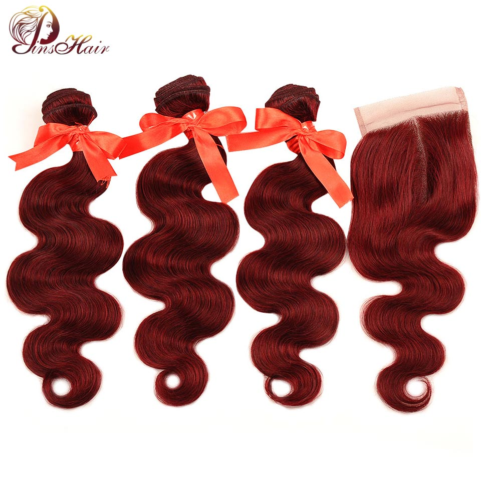 99J Brazilian Body Wave Human Hair Bundles With Closure Red Burgundy Bundles With Closure Pinshair Nonremy Hair Weave Bundles