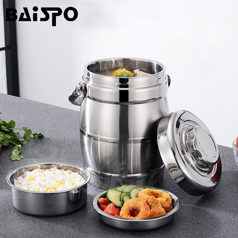 Baispo Stainless Steel  Thermos Food Container Lunch Box Large Capacity School Adult Picnic Bento Box Storage Portable Lunchbox
