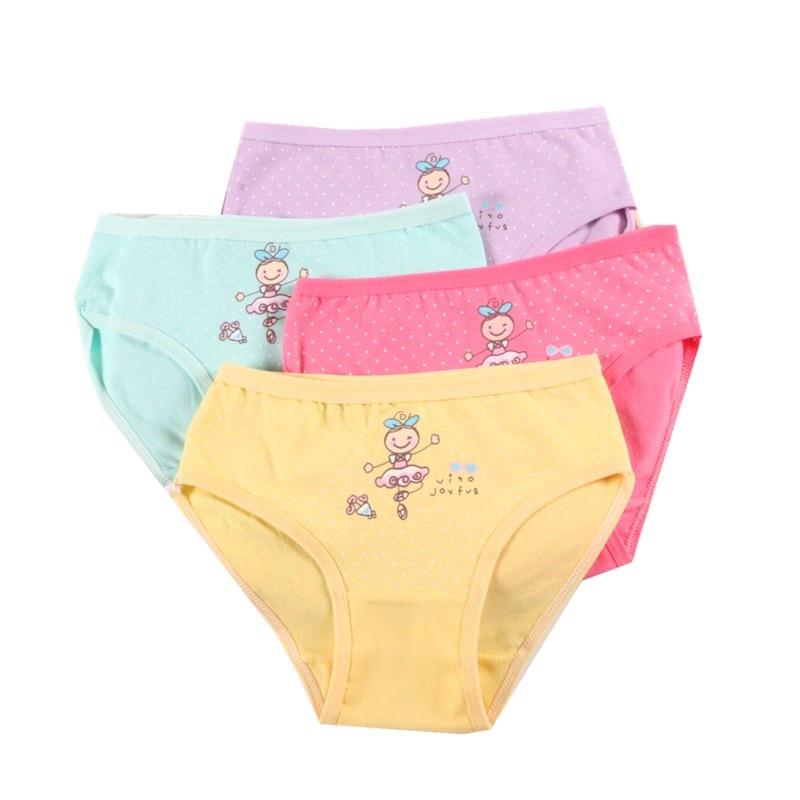 4 Pcs/lot Kids Cotton Briefs Girls Panties  Cartoon Pattern Underpants Candy Colors Triangle Girls Underwear  2-10 Years