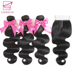 LINKELIN 毛束とクロージャ本体波人間の髪のバンドル閉鎖マレーシアボディウェーブ髪織りバンドルとともに 1 閉鎖