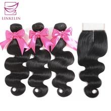 LINKELIN HAIR Bundles With Closure Body Wave Human Hair Bundles With Closure Malaysia Body Wave Hair Weave Bundles With Closure