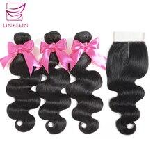 LINKELIN saç demetleri ile kapatma vücut dalga İnsan saç paketler kapatma ile malezya vücut dalga saç örgü demetleri ile kapatma