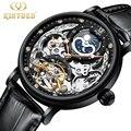 KINYUED Скелет дизайн подлинный черный ремень водонепроницаемый Tourbillon для мужчин автоматические часы Лидирующий бренд Роскошные Механически...