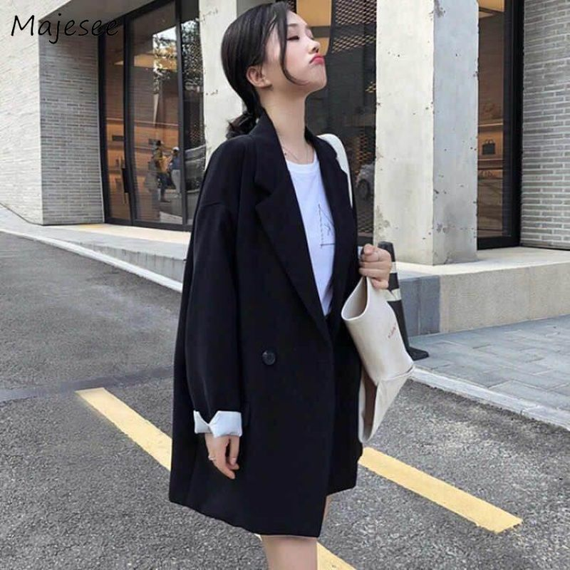 Blazers Women Simple Korean Style Daily Casual Elegant All-match Black Sweet Double Breasted Student Tops Loose Womens Notched