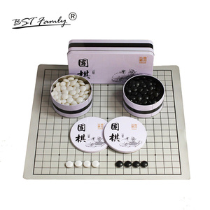 BSTFAMLY Go Chess 19 Road 361 шт./компл. Chessman диаметр 2,2 см PU Chessboard железная коробка китайская старая игра Go Weiqi игрушка подарок G12