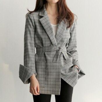 2020 Fashon Spring Autumn Women Gray Plaid Office Lady Blazer Fashion Bow Sashes Split Sleeve Jackets Elegant Work Blazers