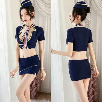 Sexy Erotic Cabin Crew Uniform Women Low Cut Push Up Lingerie Underwear Deep V Neck Female Intimates Nightwear