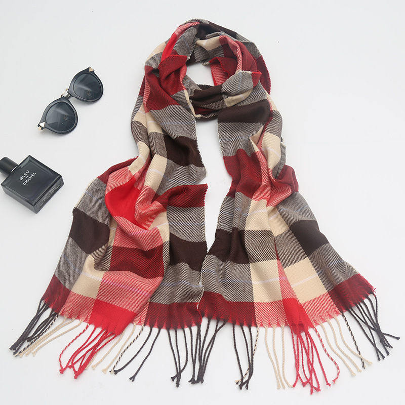 Children Plaid Scarf Parent And Child Scarf Autumn And Winter New Style Faux Cashmere Plaid Pattern Contrast Color Mixed Colors