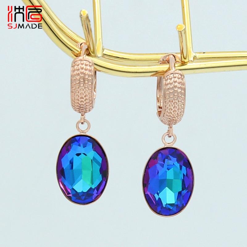 SJMADE Classic Fashion Egg Shape Oval Crystal Dangle Earrings 585 Rose Gold White Gold For Women Wedding Luxury Elegant Jewelry