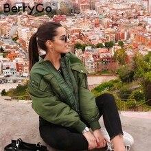 BerryGo Fashion button pockets women parkas Zippers autumn w