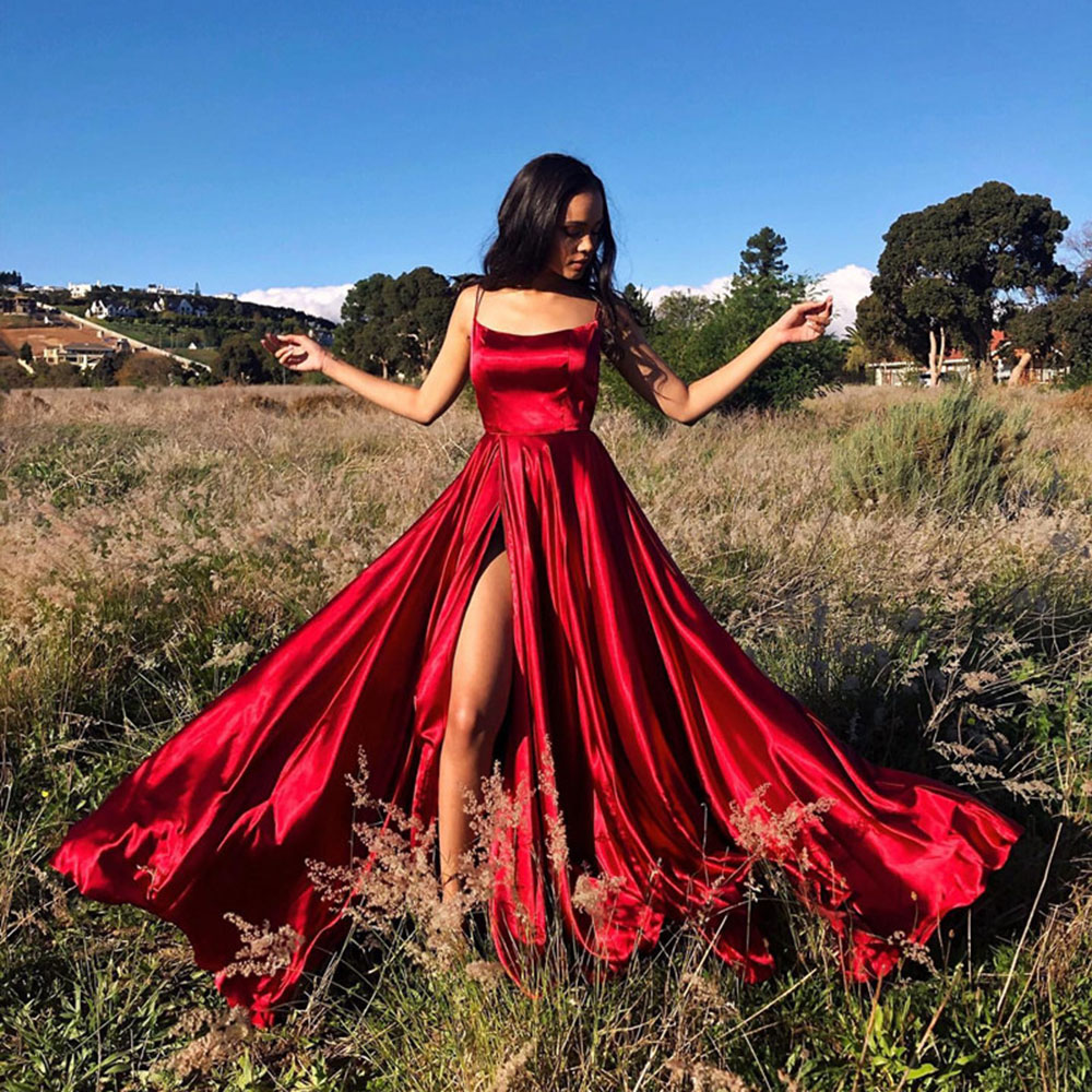 VKbridal Cross Back High Slit Satin Homecoming Party Gown Long With Pocket 100% Real Picture Backless Red Sexy Prom Dresses 2019