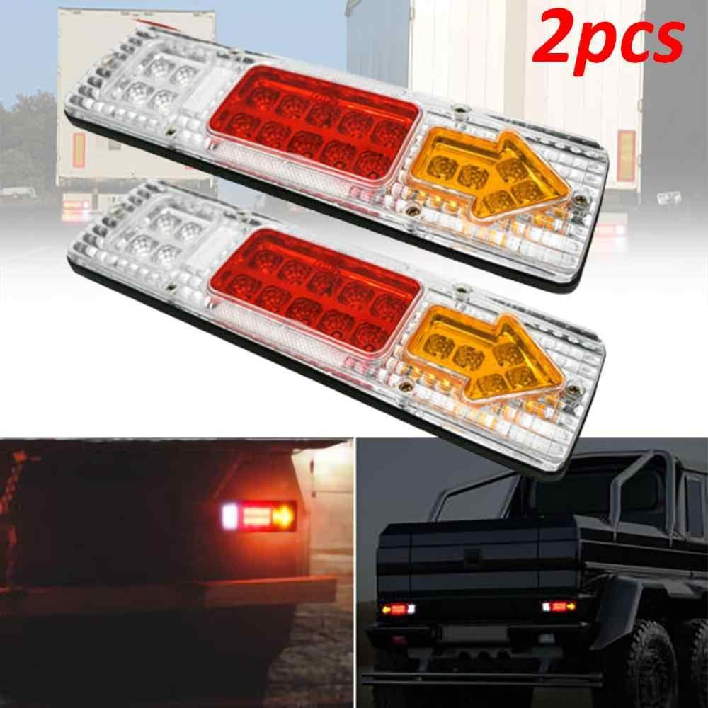 Farol traseiro de led para caminhão ou caminhão, 2 peças, 12v e 19 leds, luz de freio, à prova d' água, para caminhão