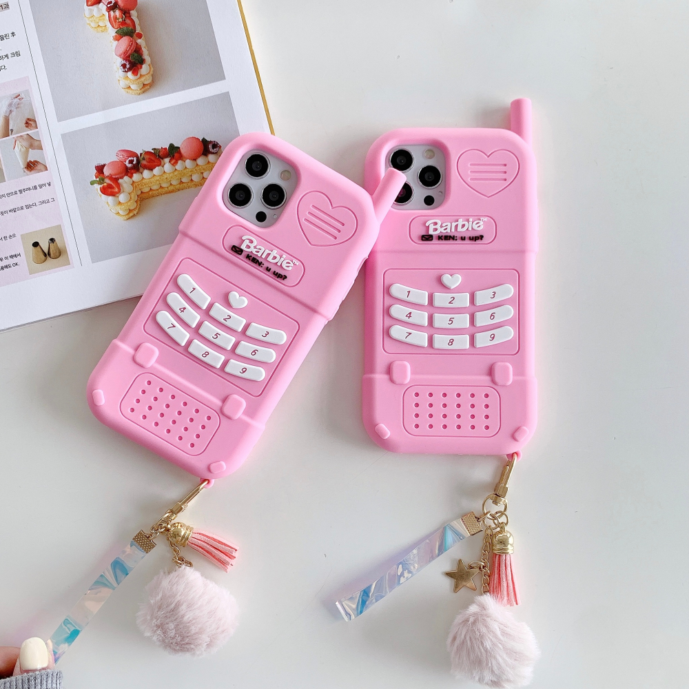 Cartoon 3D Phone Keys Pattern For Iphone 12 12Promax X Xs Xr Xsmax 7 8 7Plus 11Promax Silicone Soft Shell With Pendant
