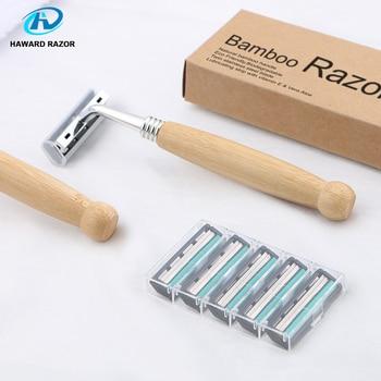 HAWARD Razor Eco Friendly Bamboo Handle Twin Blade Razor Hair Removal Travel Razor Replaceable Razor Head Blade Cartridge 6