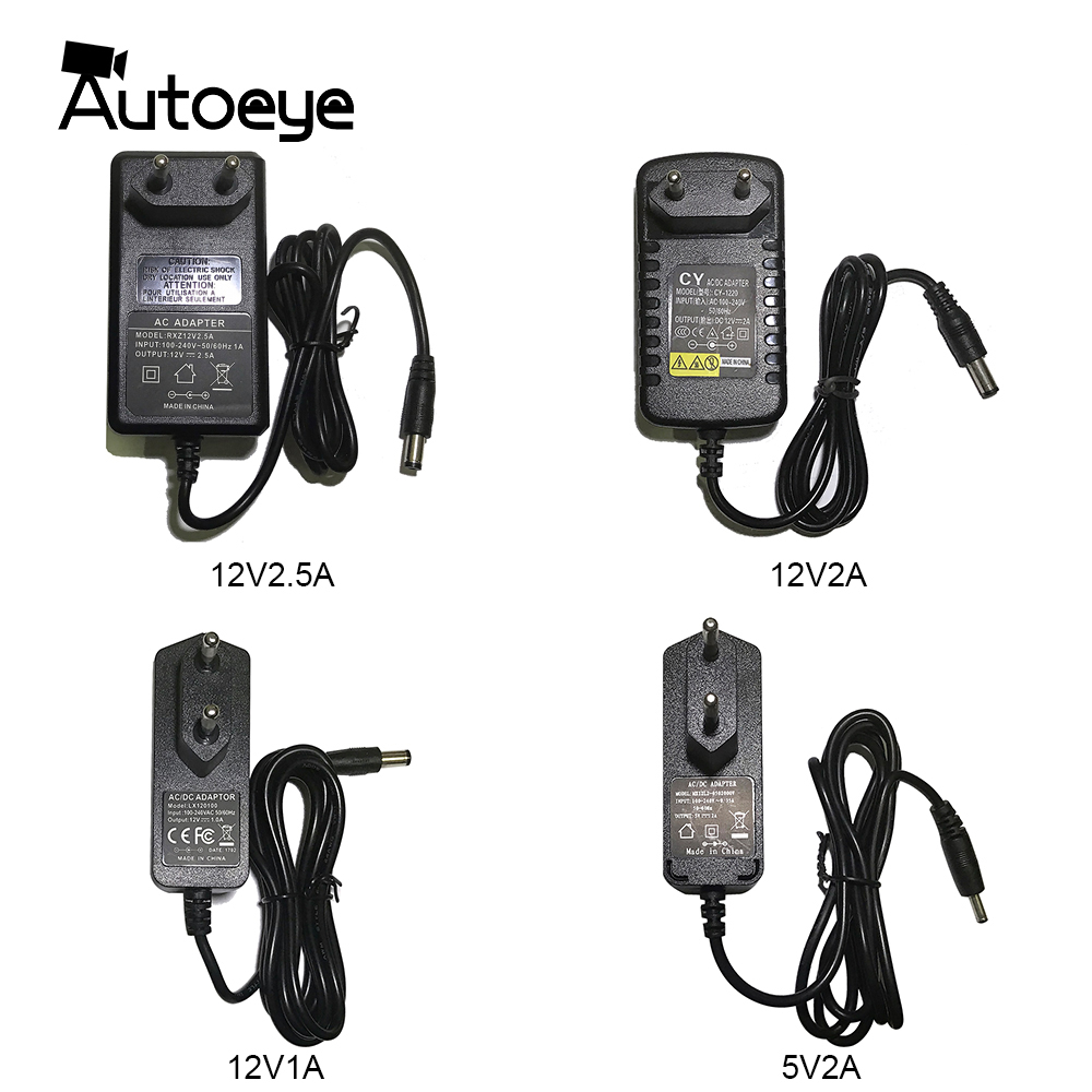 EU AU UK US Plug Type 12V2.5A 2A 1A 5.5mmx2.1mm 5V2A 3.5mmx1.35mm Power Supply AC 100-240V To DC Adapter Plug For CCTV IP Camera
