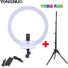 YONGNUO YN608 RGB LED الفيديو الضوئي التصوير الفيديو مصباح مصمم على شكل حلقة 5500K + RGB كامل اللون مع تحكم عن بعد للعيش فيديو Selfie