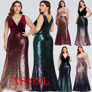 Image 2 - Sexy Velvet Party Dress Plus Size Women V Neck Sleeveless Long Mermaid Sequin Dress New Summer Maxi Bodycon Vestidos De Fiesta