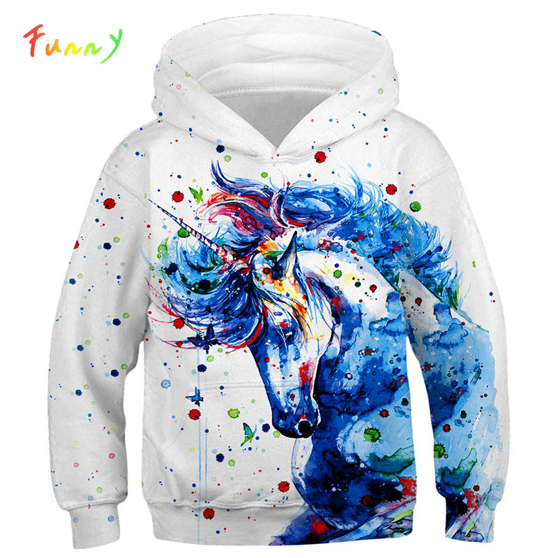 Fashion <font><b>3D</b></font> Unicorn <font><b>Hoodies</b></font> Sweatshirt Girls Boys Rainbow Horse <font><b>Animal</b></font> Printed Thin Long Sleeve Kids Hoodie Toddler Hoody Coat image